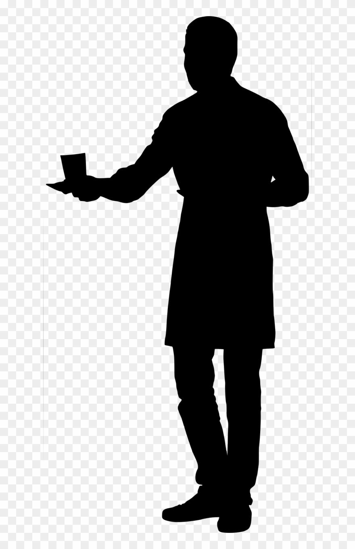 Silhouette Waiter Holding.