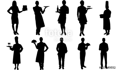 Waiters and Waitress Silhouette.