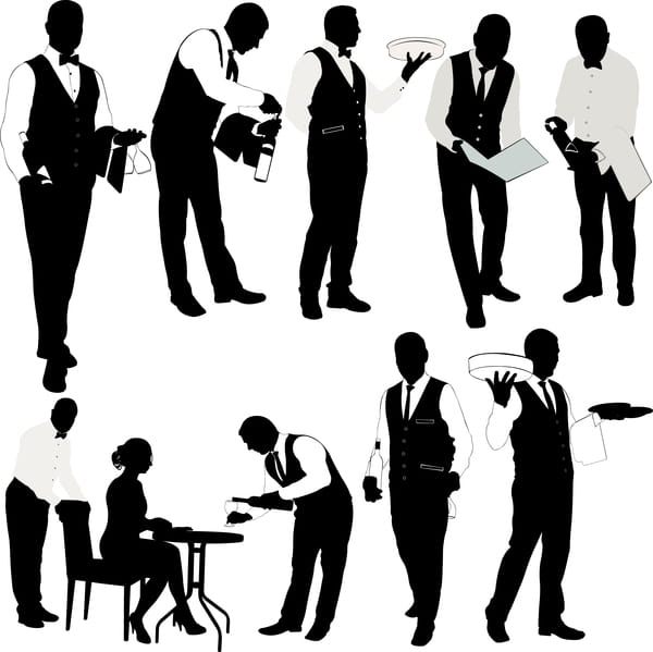 Waiter silhouette vector set eps file.
