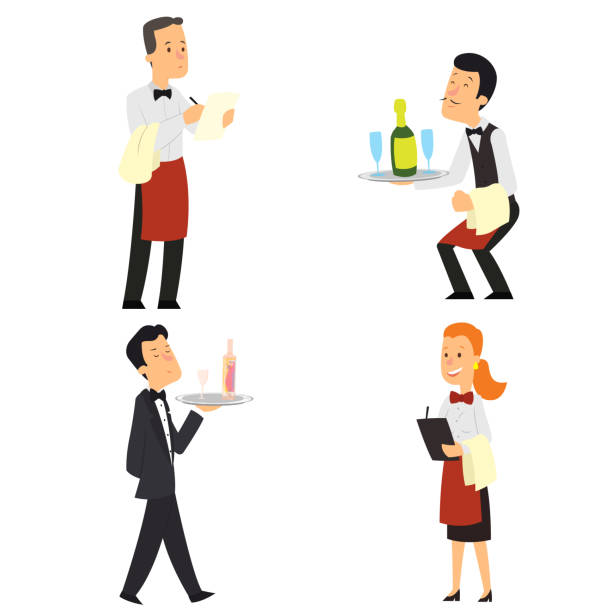 Waiter and waitress restaurant. » Clipart Station.