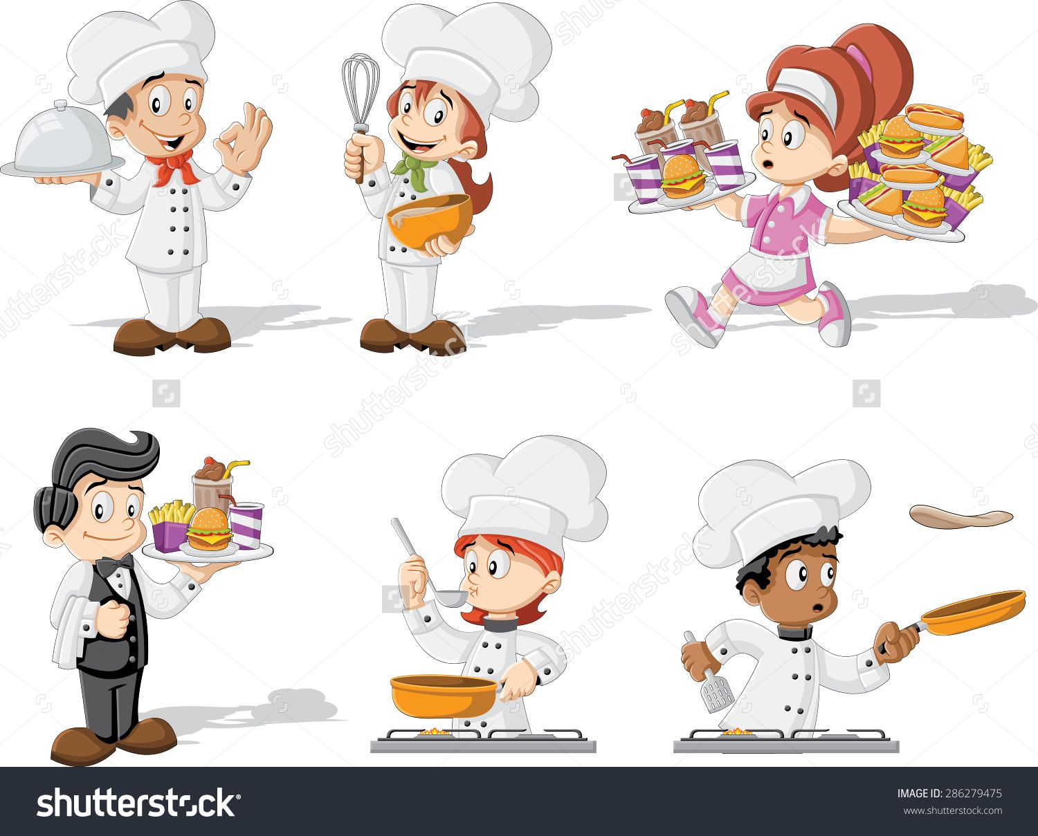 Funny Cartoon Clip Art Waitress.