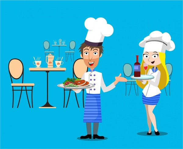 Restaurant concept design with waiter and waitress Free.