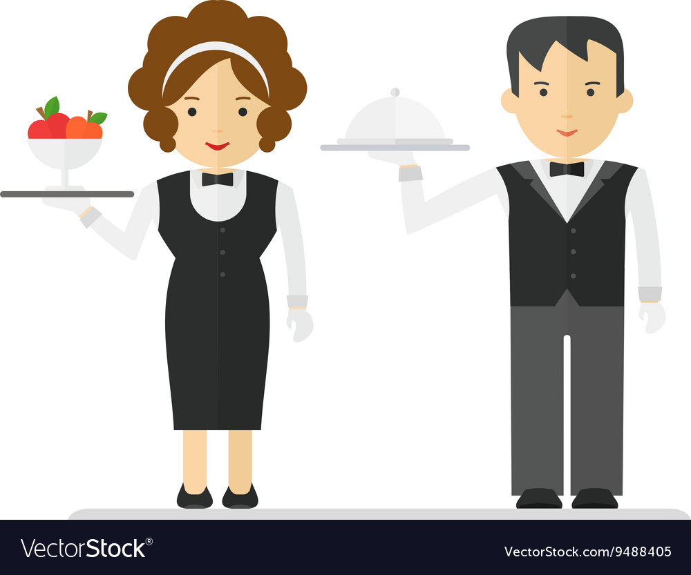 Waitress and waiter in black suit.