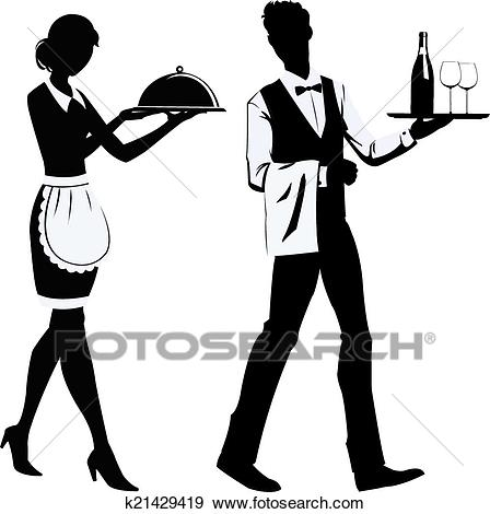 Silhouette waiters Clip Art.