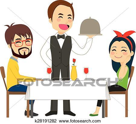 Waiter Serving Restaurant Clipart.