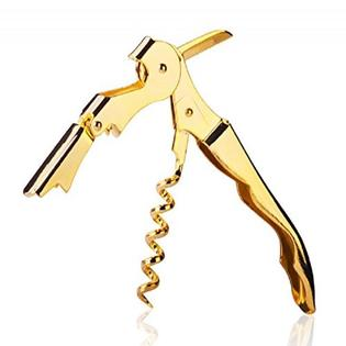 Tipsy Wine Products Gold Plated Corkscrew Double Hinge.