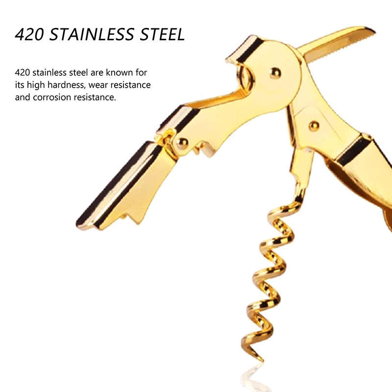 New Gold Plated Corkscrew Double Hinge Waiters Wine Key Bottle Opener Party  Bottle Opener SF66.
