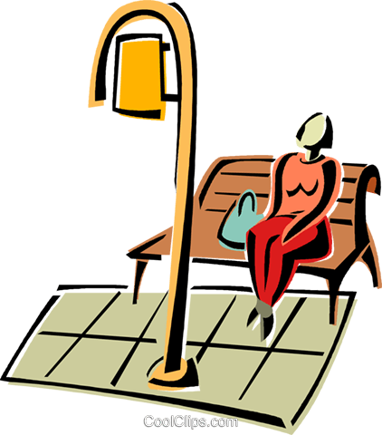 sitting on bench waiting for the bus Royalty Free Vector Clip Art.