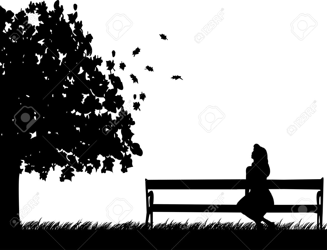 Woman sitting on a park bench clipart.