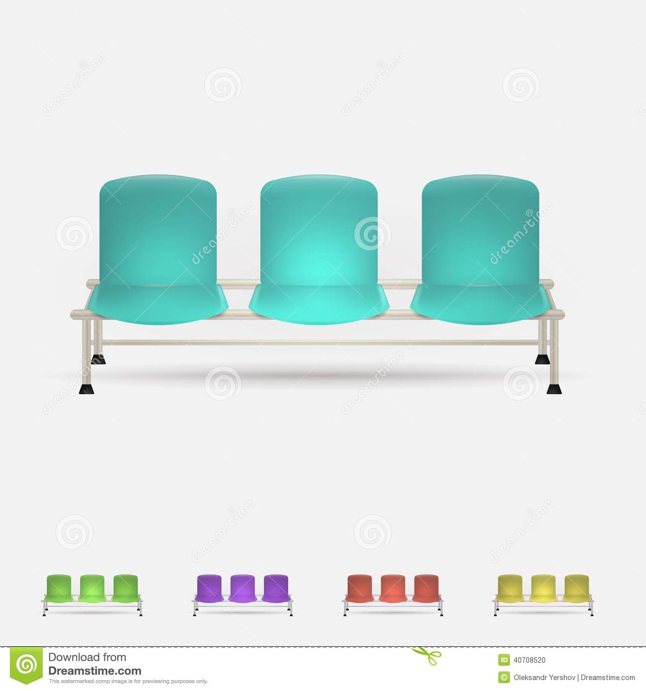 Illustration Of Colored Waiting Benches Stock Vector.