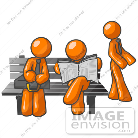Clip Art Graphic of Orange Guy Characters Waiting At A Bus Stop.