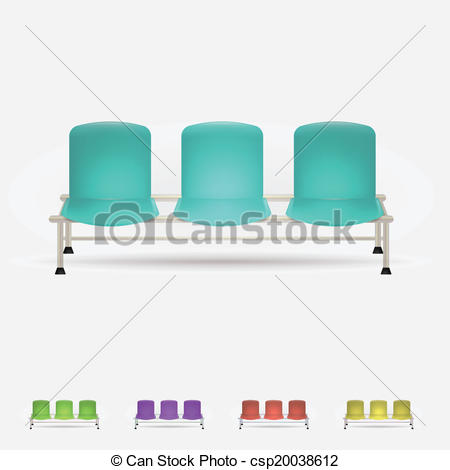Vector Clip Art of Illustration of colored waiting benches.