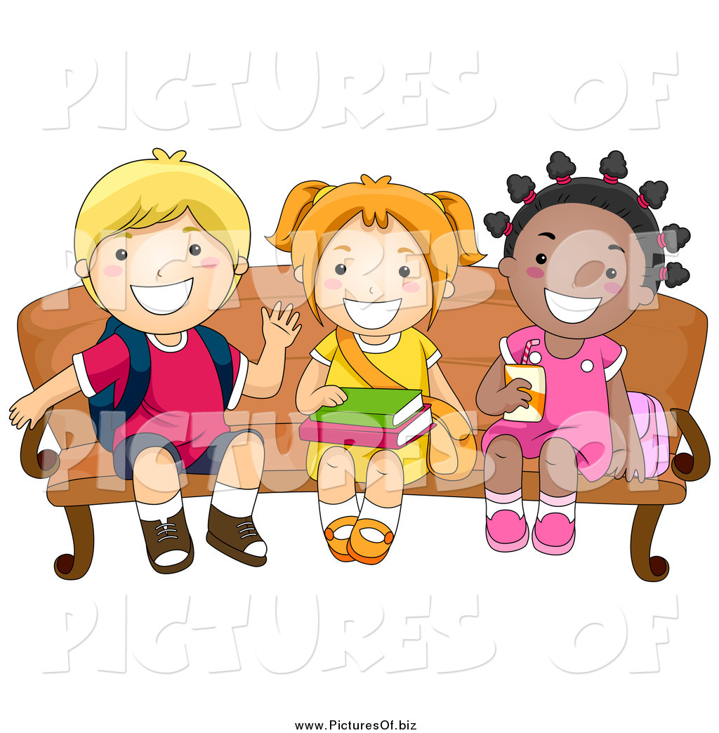 Vector Clipart of a Happy School Kids Waiting on a Bench by BNP.