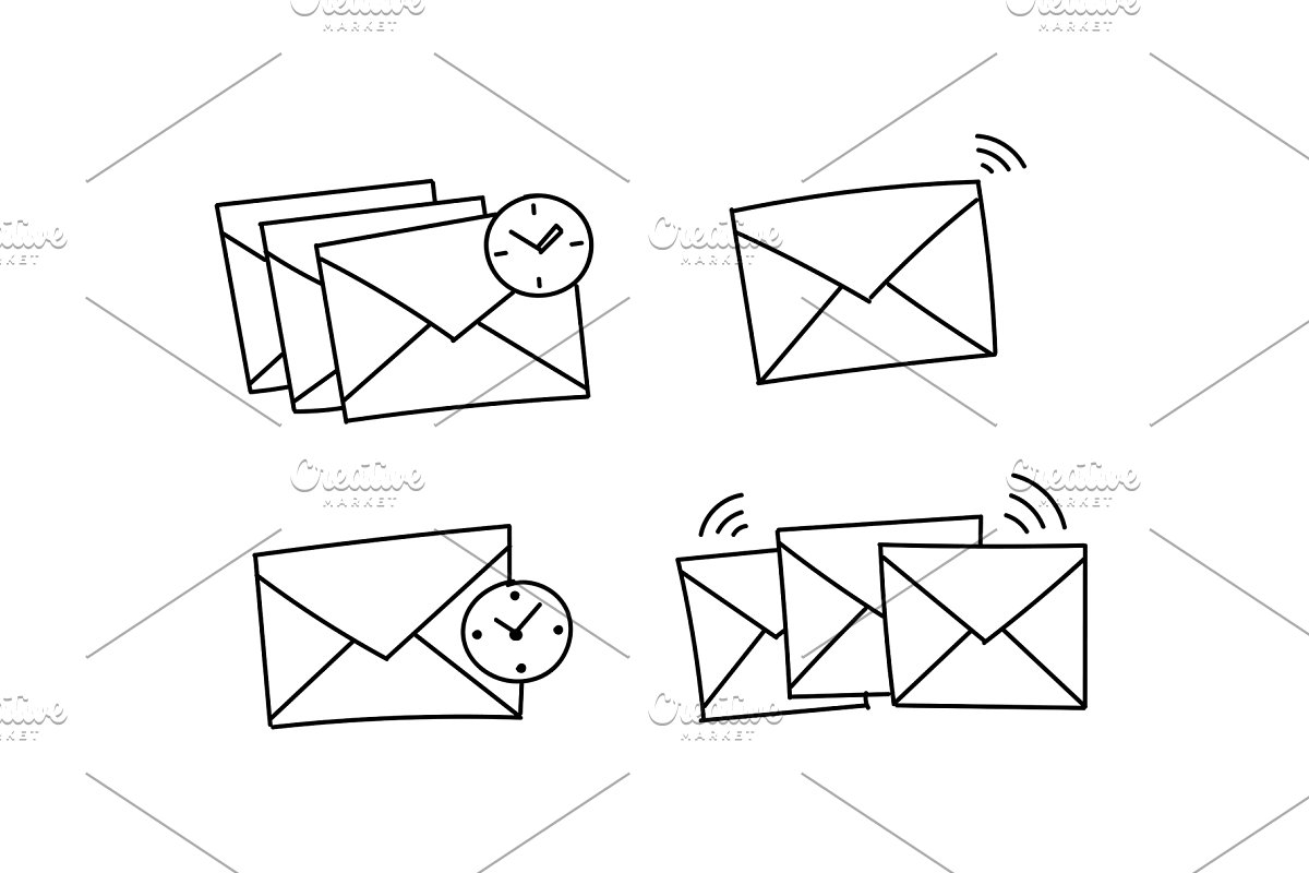 Several envelopes waiting to be send Closed envelope waiting. Vector stock  clipart illustration. Hand drawn black line..