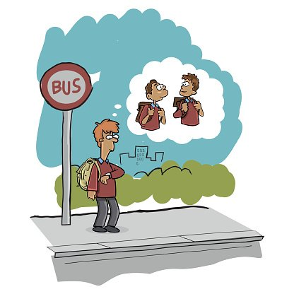 School Boy waiting for Bus Clipart Image.