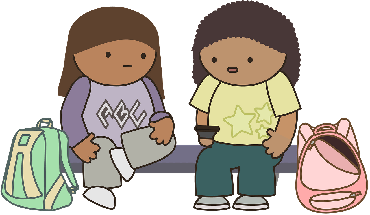 Schoolkids waiting for the bus clipart. Free download.
