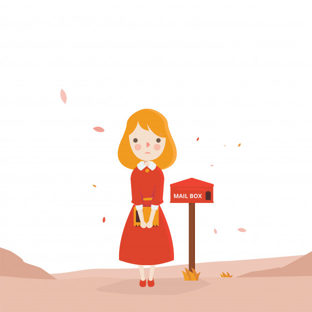 Red girl waiting mail Vector.