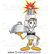 Cuisine Clipart of a Spark Plug Character Waiting Tables by.