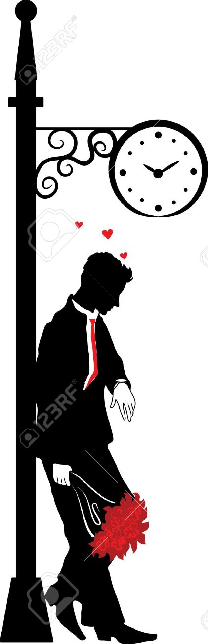 Graphic Silhouette Of The Man. Waiting The Woman Under Clock.