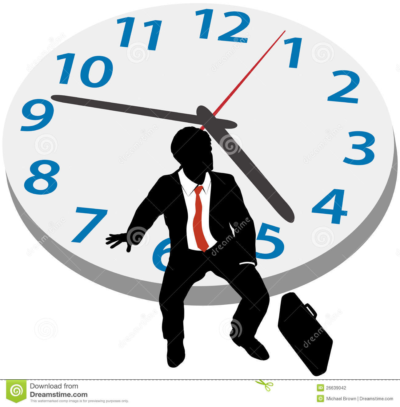 Business Man Wait Appointment Time Clock Stock Photography.