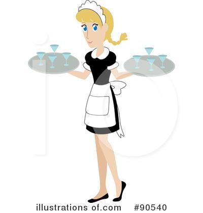 Retro Waitress Clipart.