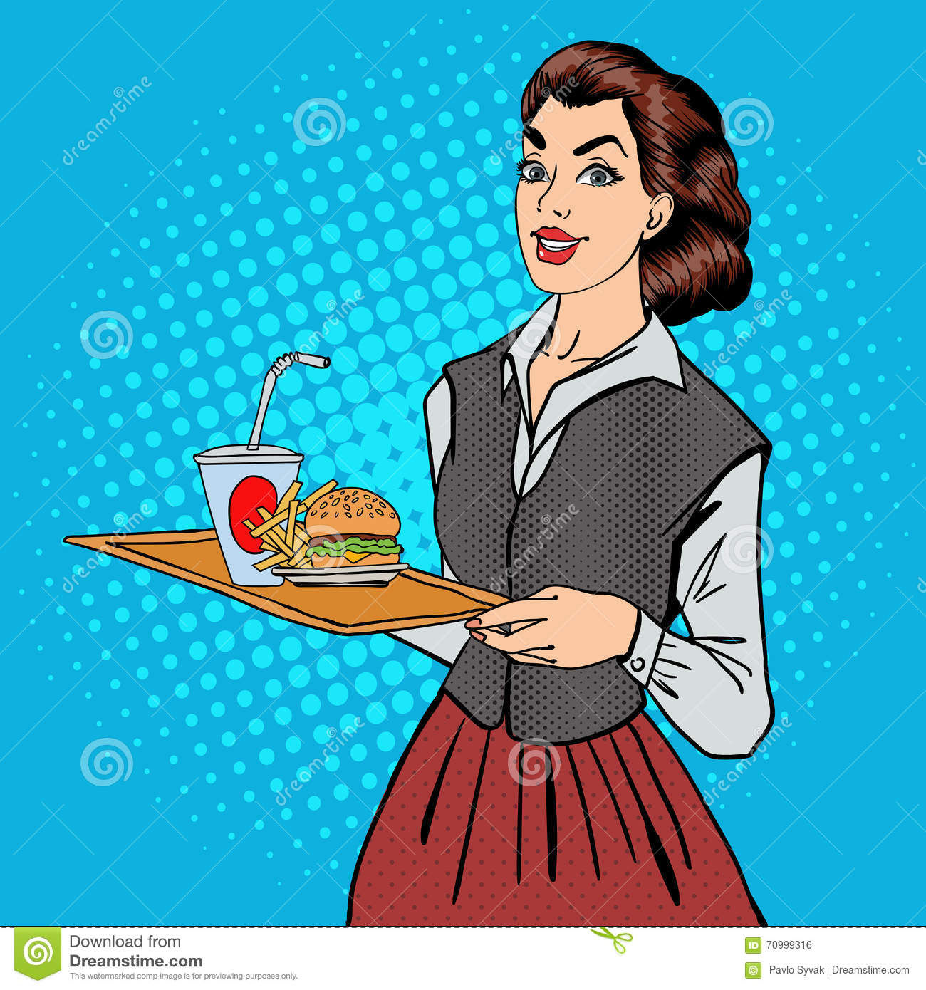 Waitress With Fast Food. Woman Holding A Tray With Burger Stock.