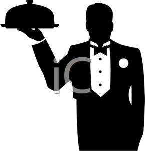 Waitress Holding Food Tray Clipart.