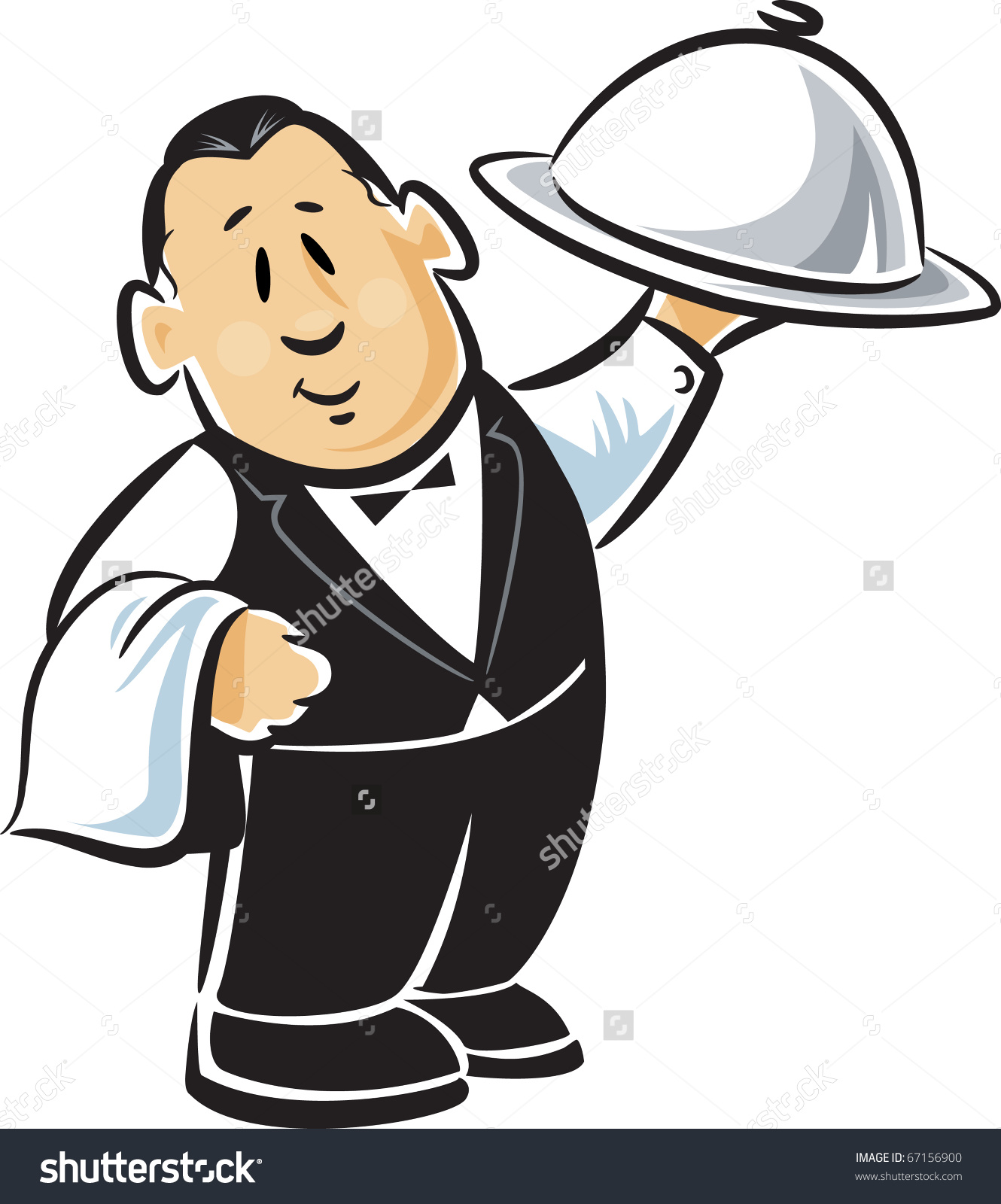 Showing post & media for Cartoon waiter holding tray.
