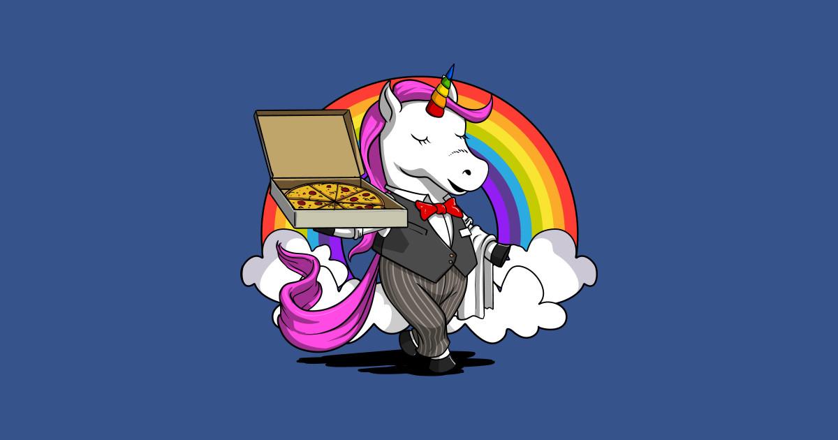 Unicorn Pizza Bartender Waitress Funny Rainbow Party.