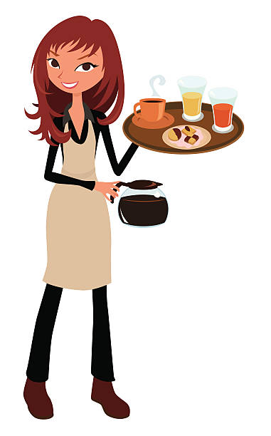 A waitress holding some drinks. » Clipart Station.