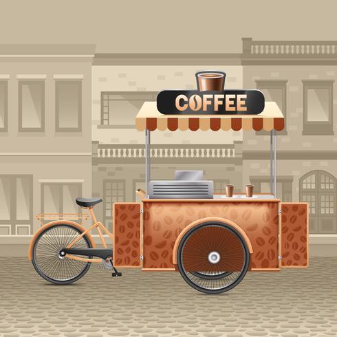 Coffee Street Cart Illustration.