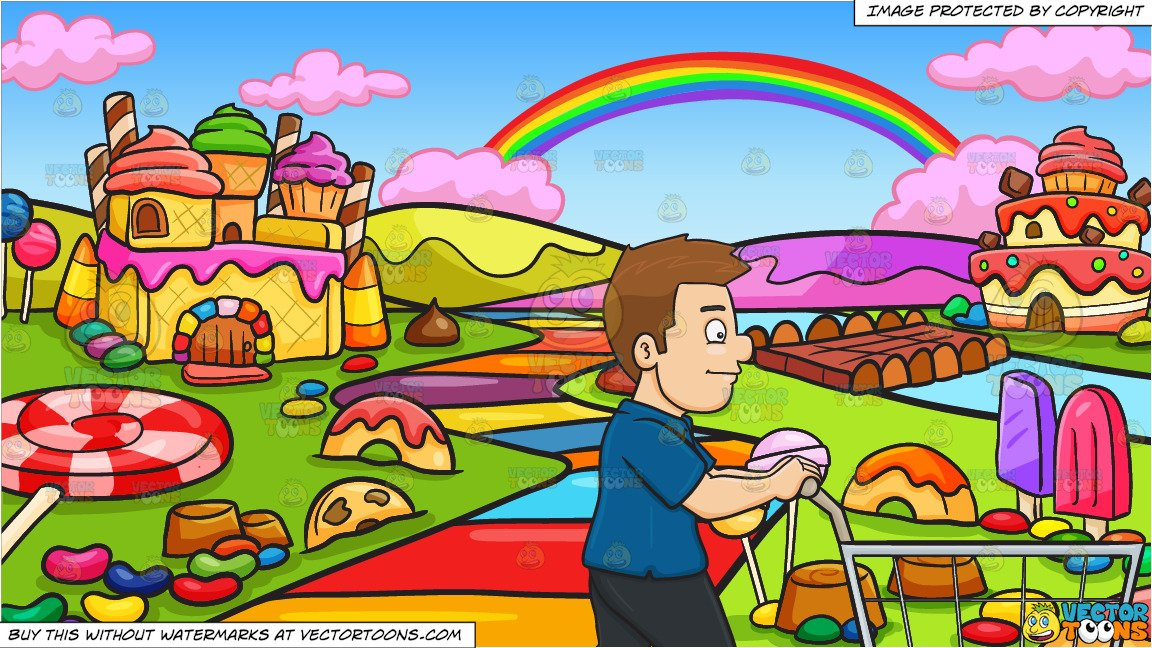 A Man Pushing A Shopping Cart Inside The Supermarket and A Candy Land  Background.