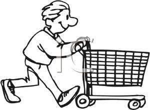 Teen Boy Pushing a Shopping Cart.