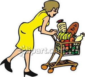 A Woman Pushing a Grocery Cart Full of Groceries Royalty.
