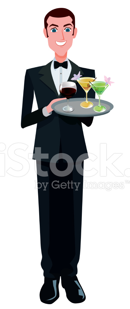 Happy Waiter With Drinks Stock Vector.