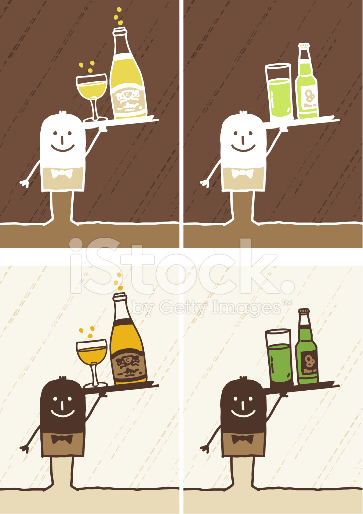 Waiter & Drinks Stock Vector.