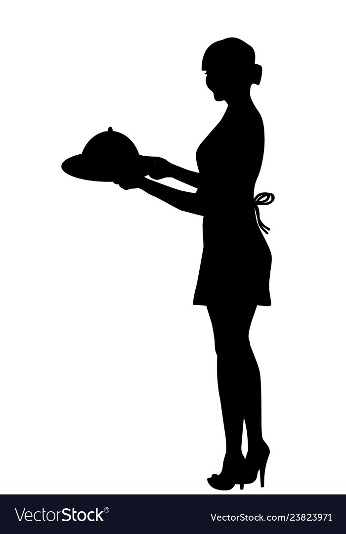 Silhouette of waitress carrying a tray with food.