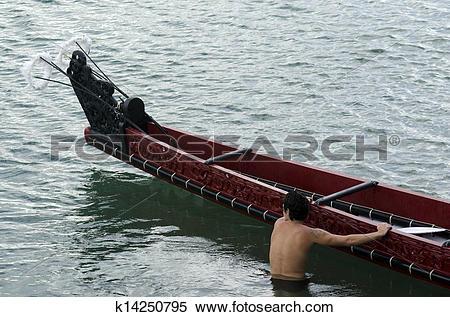 Stock Image of Maori War Waka Canoe k14250795.