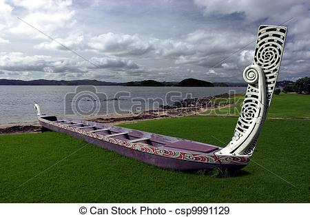 Stock Photographs of Traditional New Zealand Maori Waka.