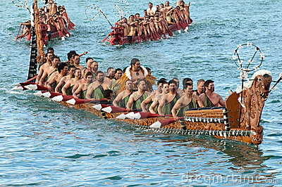 Maori Waka Heritage Sailing In Auckland, New Zealand Editorial.