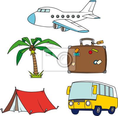 Wakacje i podróże clipart zestaw samodzielnie.