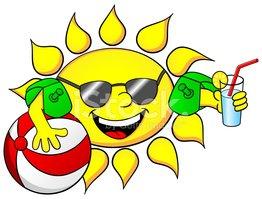 Słońce NA Wakacje Stock Vector.