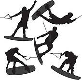 Wake boarding clipart #1