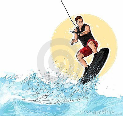 Wakeboarding Stock Illustrations.