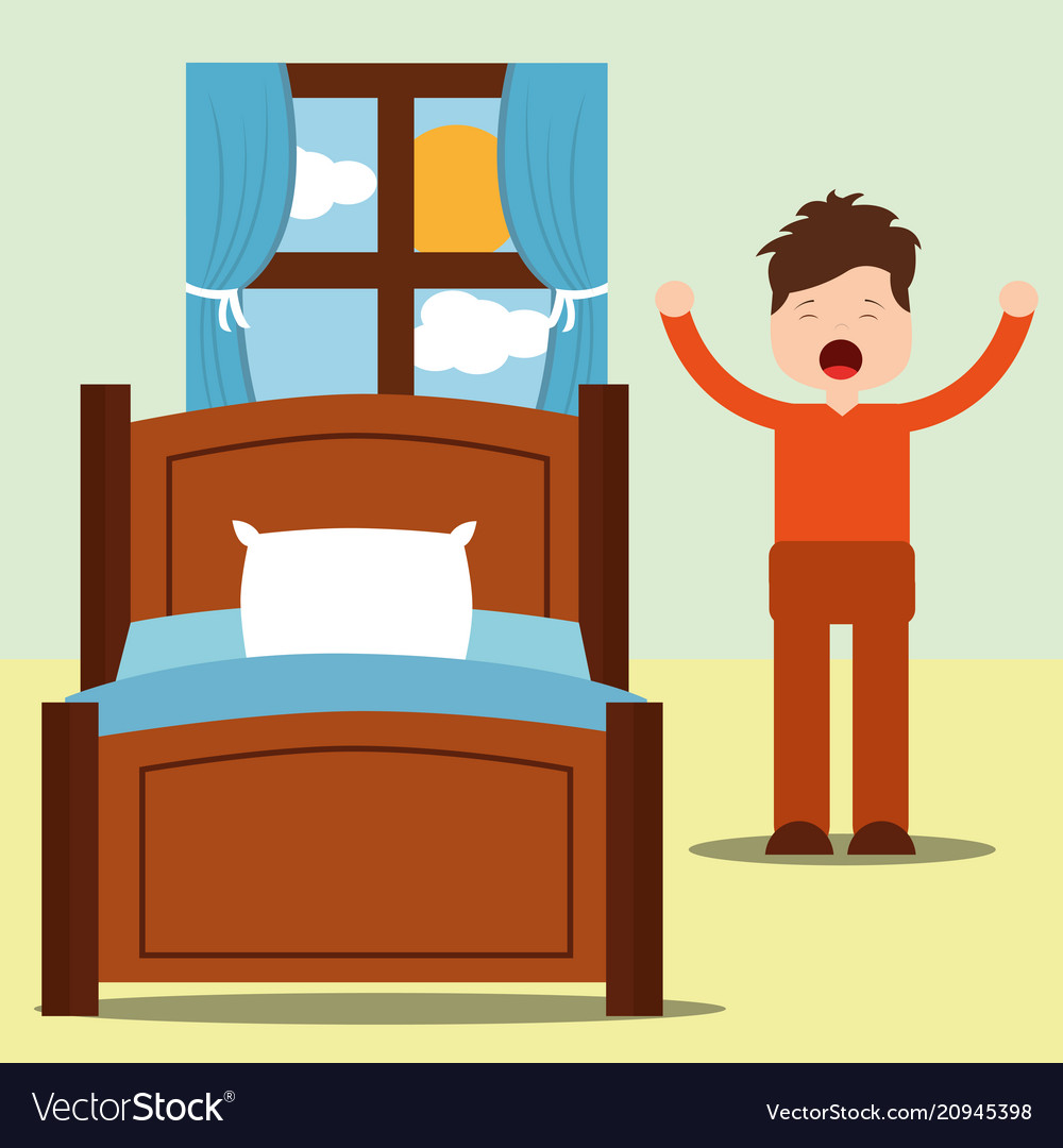 Young man happy waking up standing next bed with.
