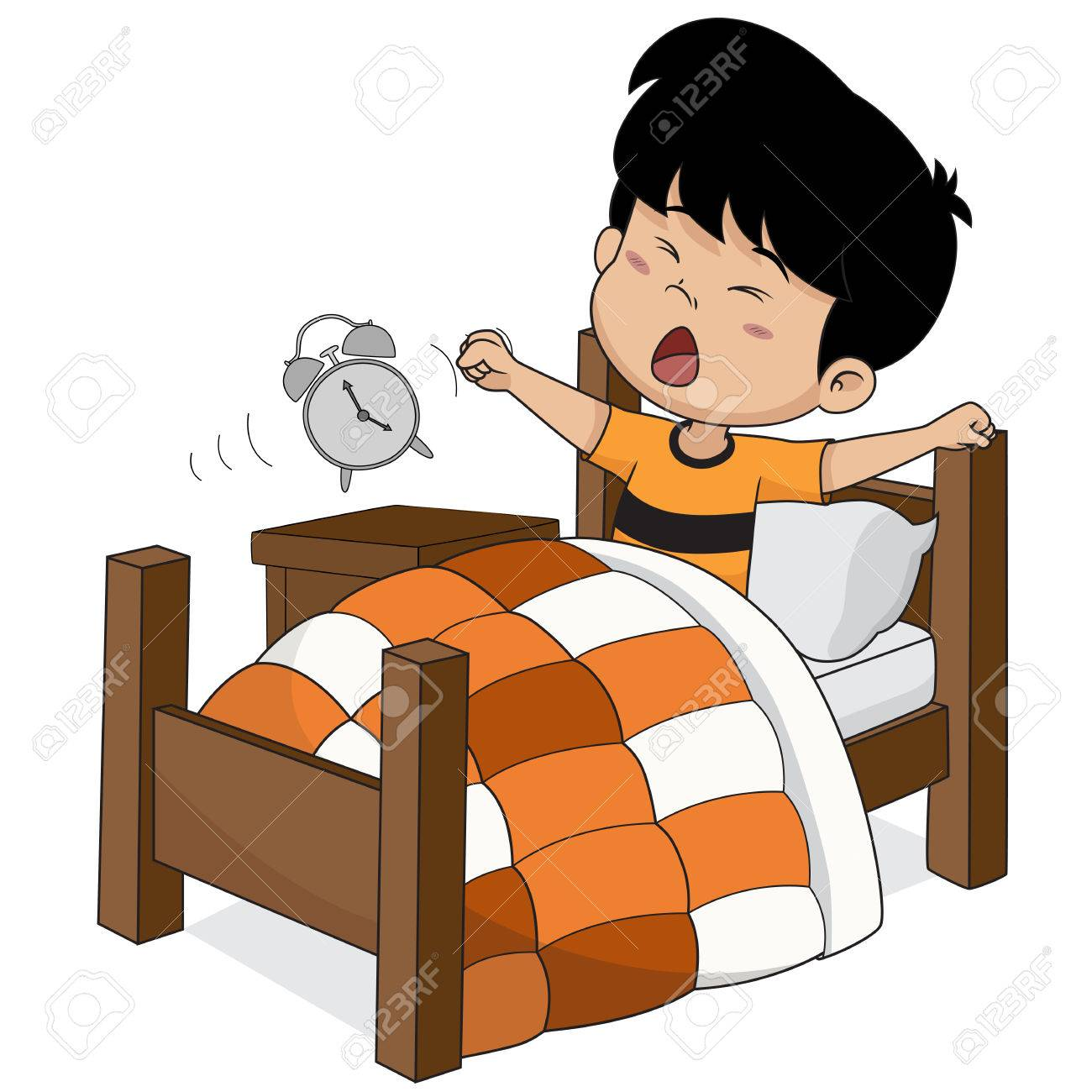 Kid wake up in the morning.Vector and illustration..