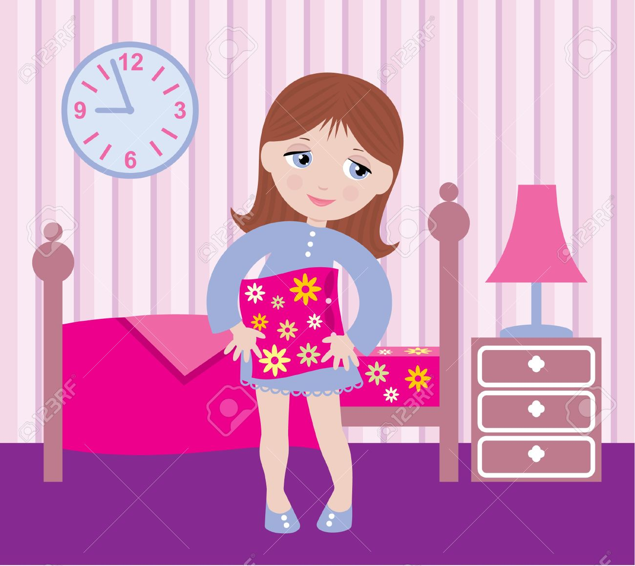 Girl waking up clipart.
