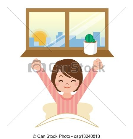 Cute Girl Wake Up Clipart.