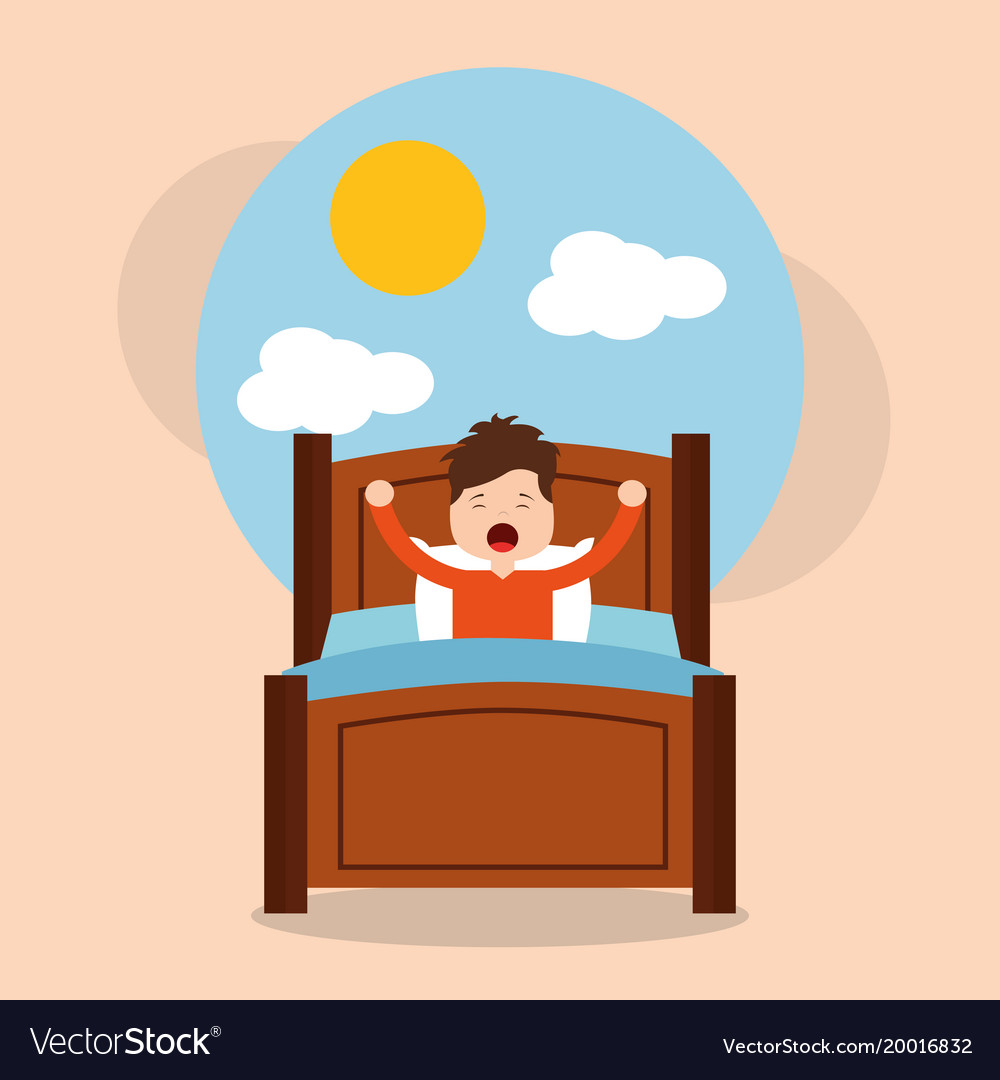 Little boy wake up in the morning cloud sun.