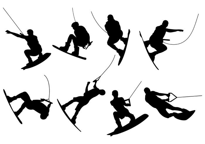 Silhouettes Of Wakeboarding Vectors.
